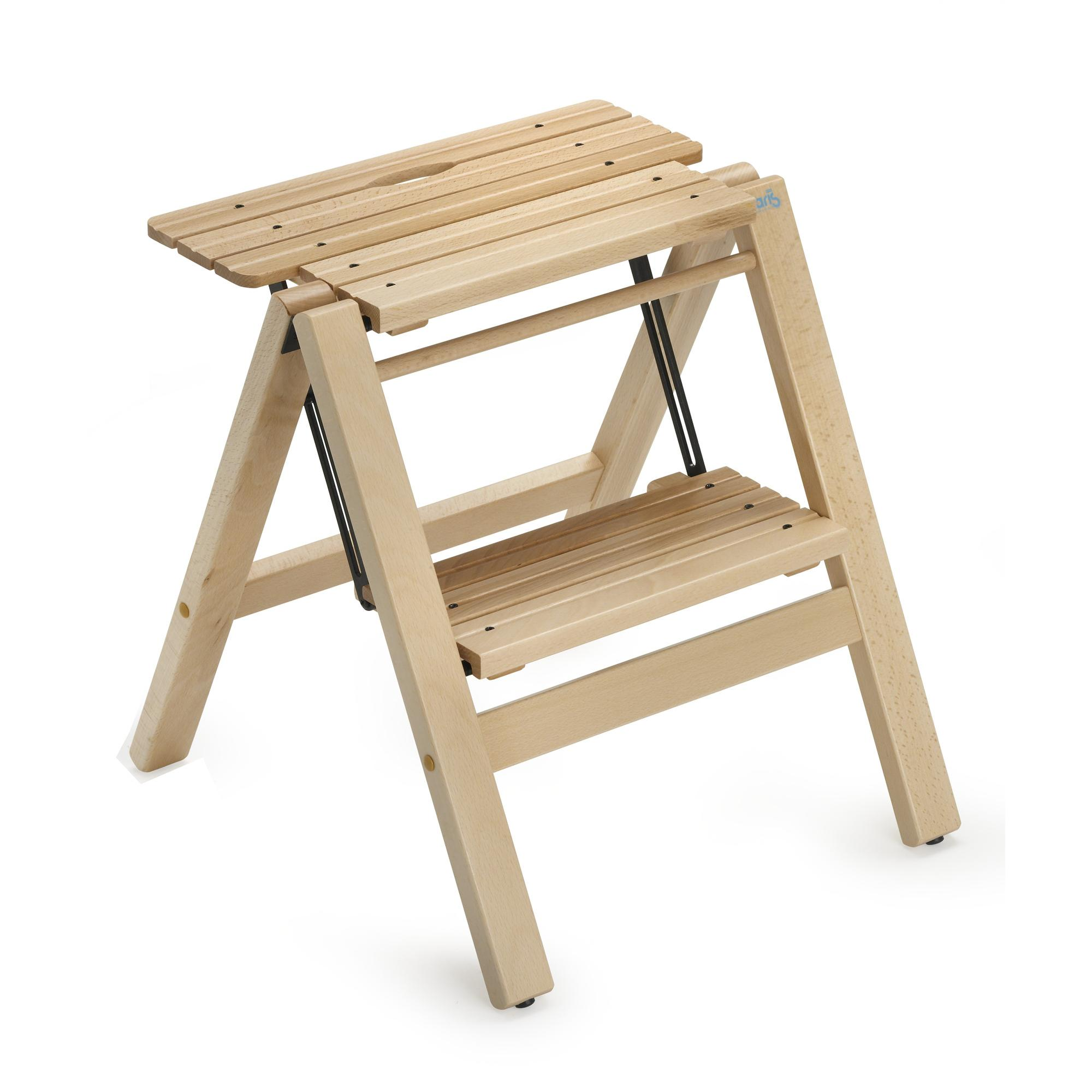 Sgabello due gradini in legno massiccio richiudibile for Gradini in legno massello prezzo