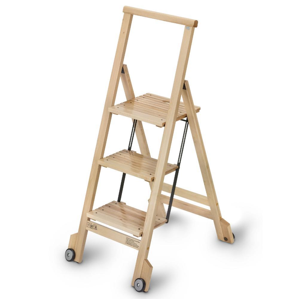Scala tre gradini con ruote richiudibile biblio 3 naturale for Gradini in legno massello prezzo
