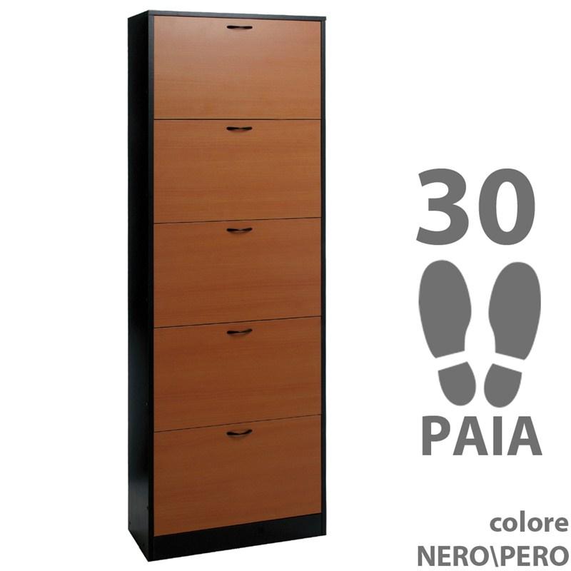 Scarpiera in legno 63x29x186 cm nobilitato 5 ante 30 paia ...