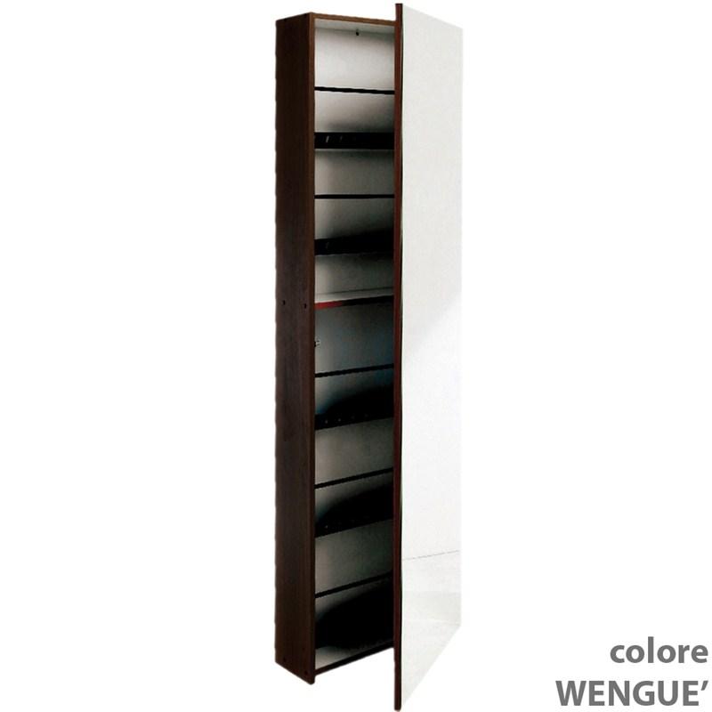 Scarpiera specchio 50x18xh180 cm contiene 10 paia di scarpe colore wenge valsecchi s p a - Scarpiera con anta a specchio ikea ...