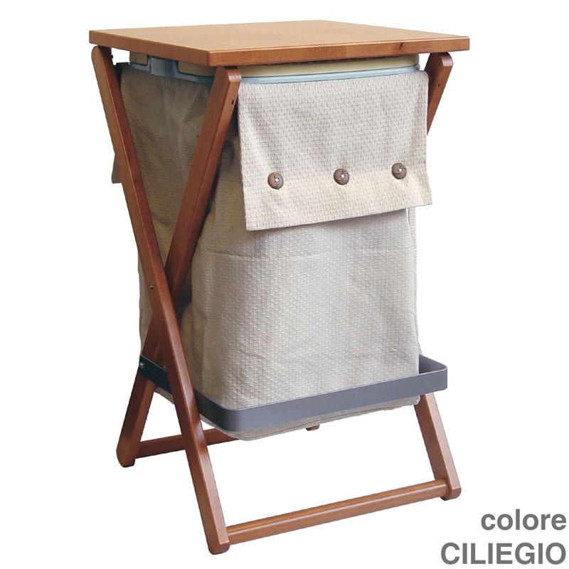 Portabiancheria sgabello 40x39xh64 cm wally in legno di faggio color ciliegio valsecchi s p a - Sgabello legno bagno ...