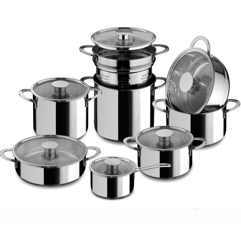 Batteria di pentole 14 pezzi gourmet acciaio inox 18 10 con coperchi in vetro pyrex adatta per - Pentole per cucine a induzione ...
