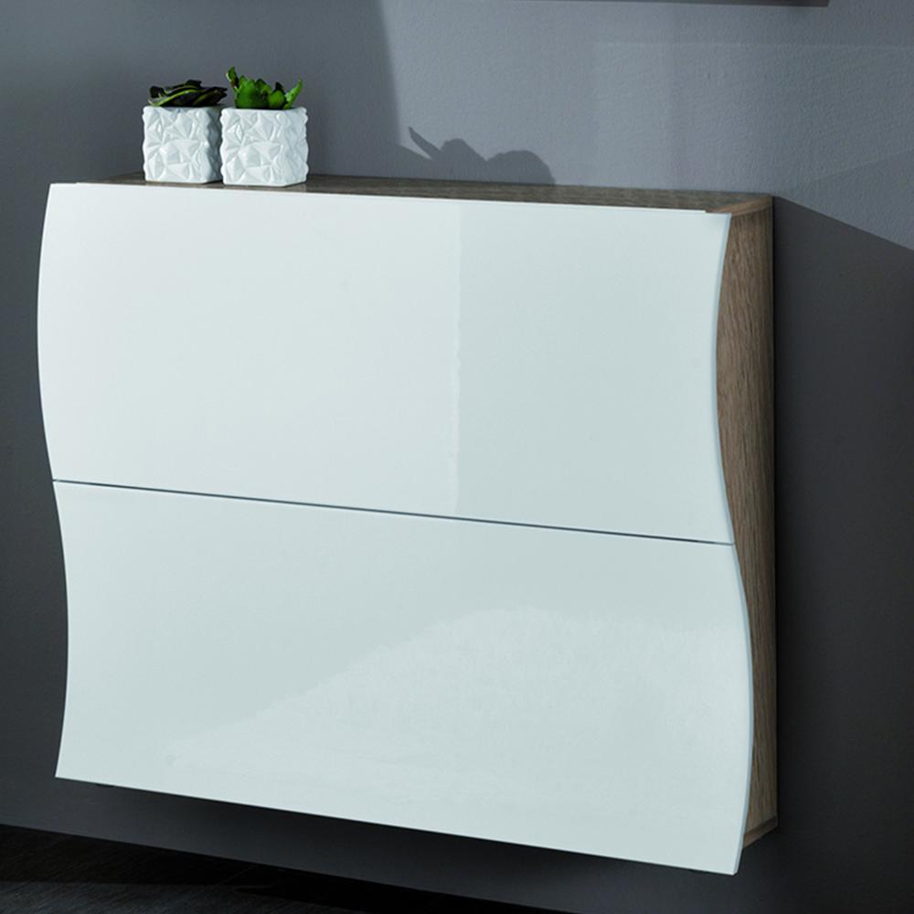 Scarpiera 2 ante 110x27xh82 cm in legno Laccato bianco fianchi rovere ...