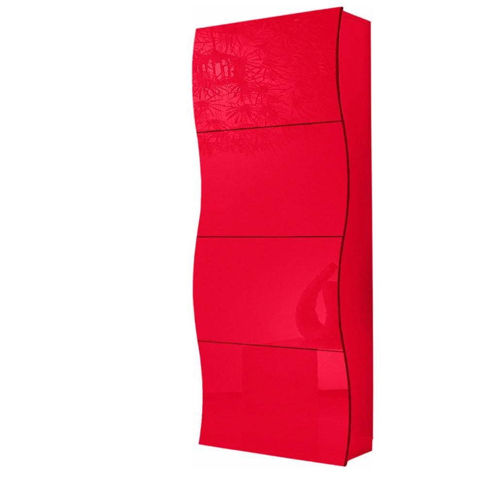 Scarpiera 4 ante 71x28xh162 cm in legno rosso laccato onda for Scarpiera bassa