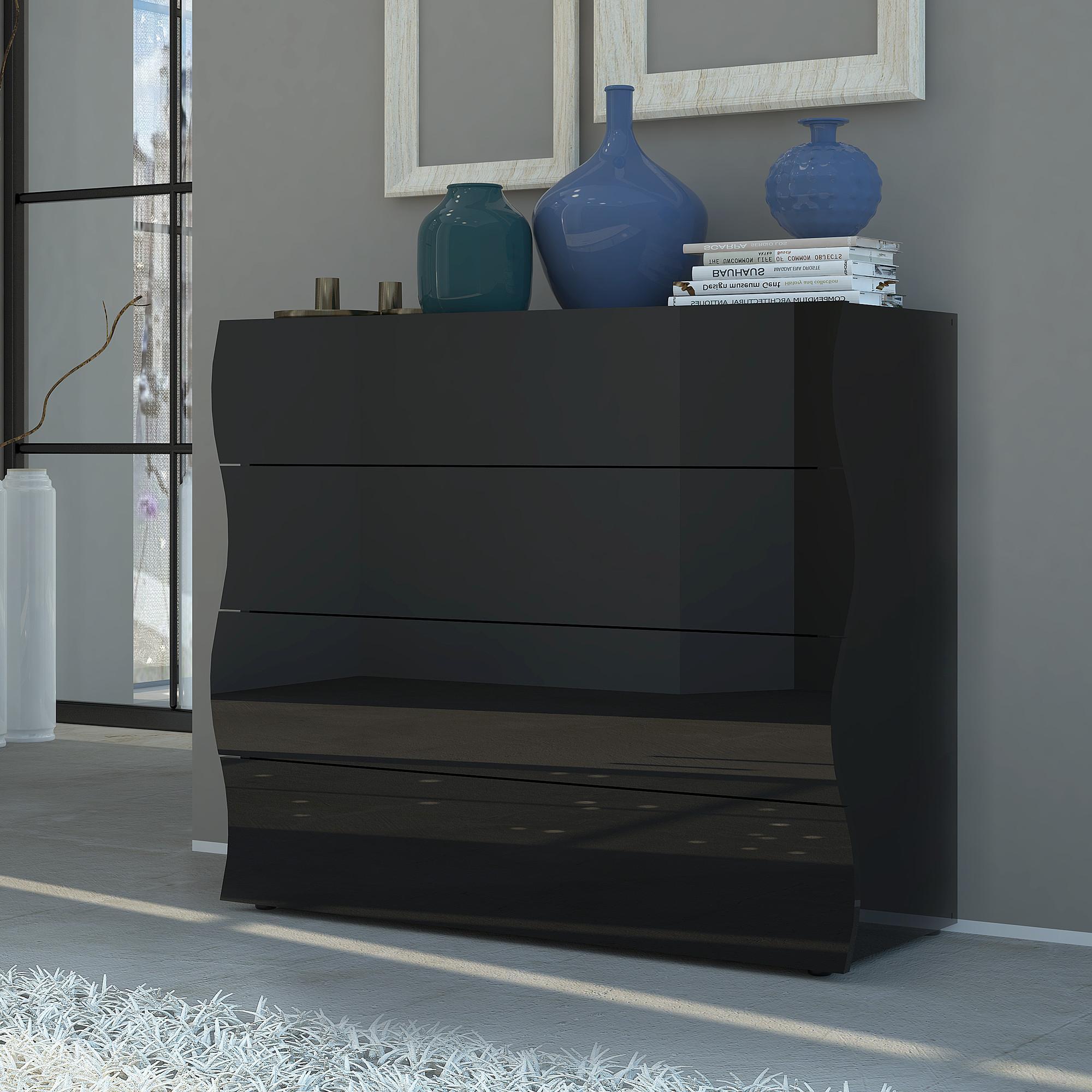 Cassettiera como 98x40xh82 cm onda 4 cassetti nero lucido for Arredamento camera da letto nero