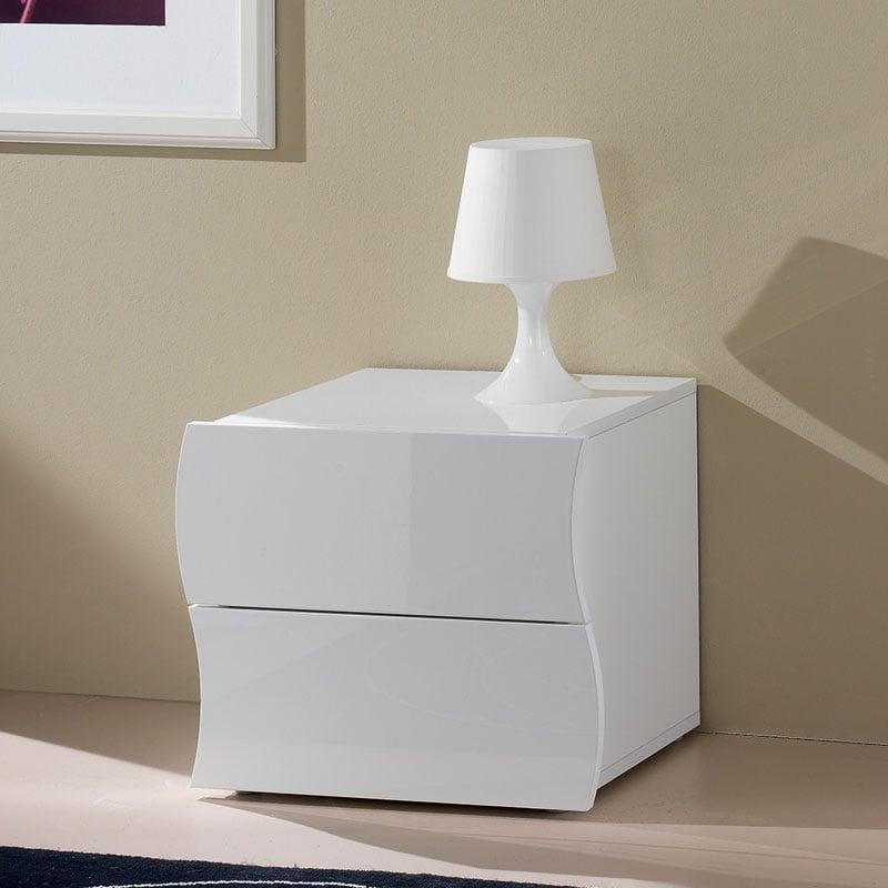 Comodino Larghezza 35 Cm.Comodino In Melaminico 50x40xh42 Cm Onda Laccato Bianco Lucido In Kit Di Montaggio Tecnos Arredamento