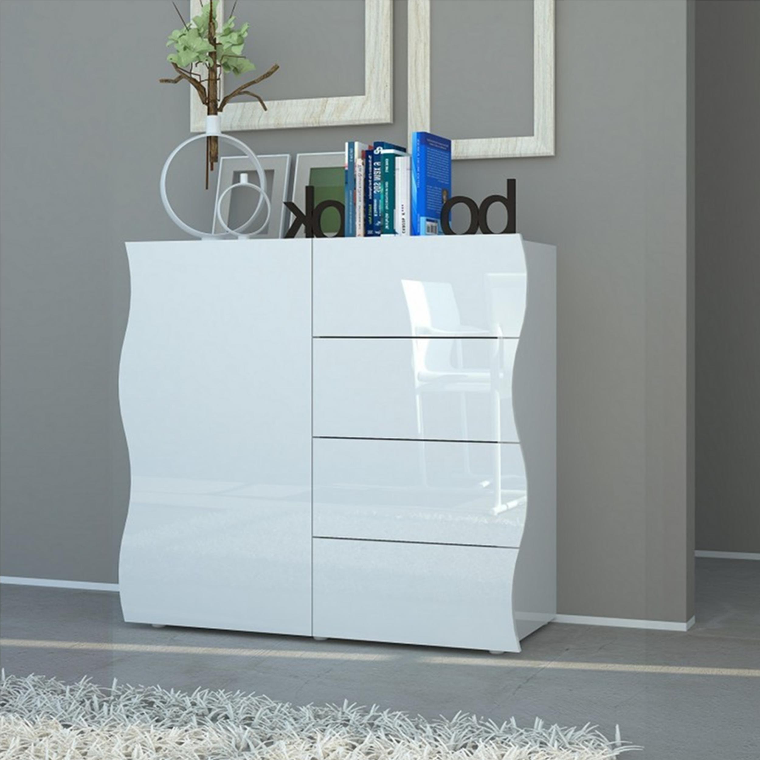 Mobile onda 4 cassetti 1 anta 90x40xh81 2 cm bianco laccato lucido tecnos arredamento - Mobile cassetti ...