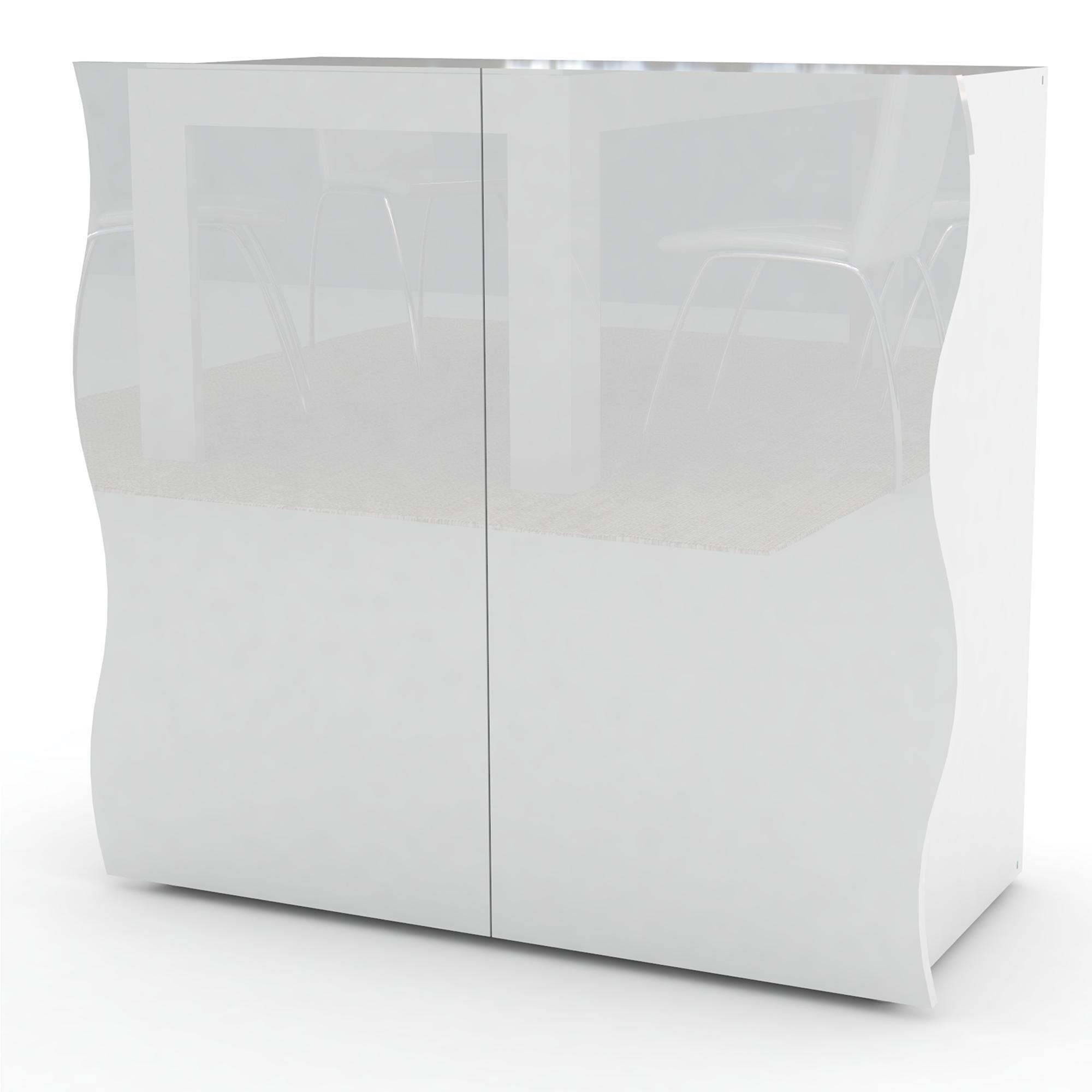 Mobile 2 ante 90x40xh81cm ONDA con ripiano interno centrale in melaminico  laccato bianco lucido | Tecnos Arredamento
