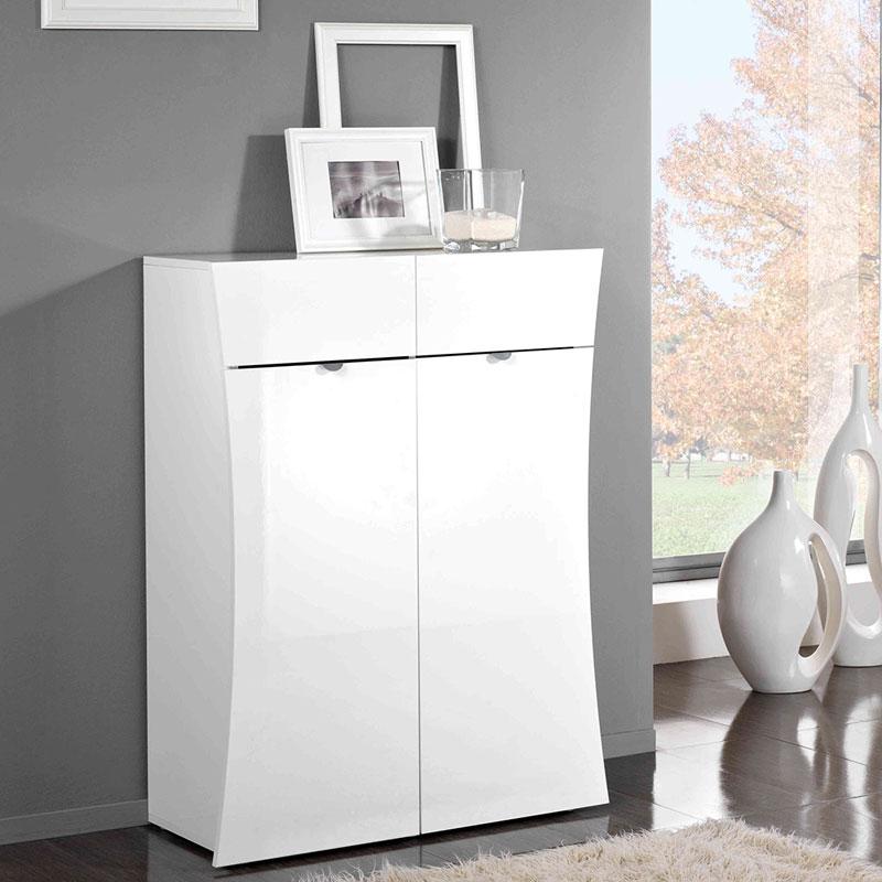 Mobile 2 ante e 2 cassetti 90x40xh116 cm arco in melaminico laccato bianco lucido in kit di - Montaggio mobile bagno ...