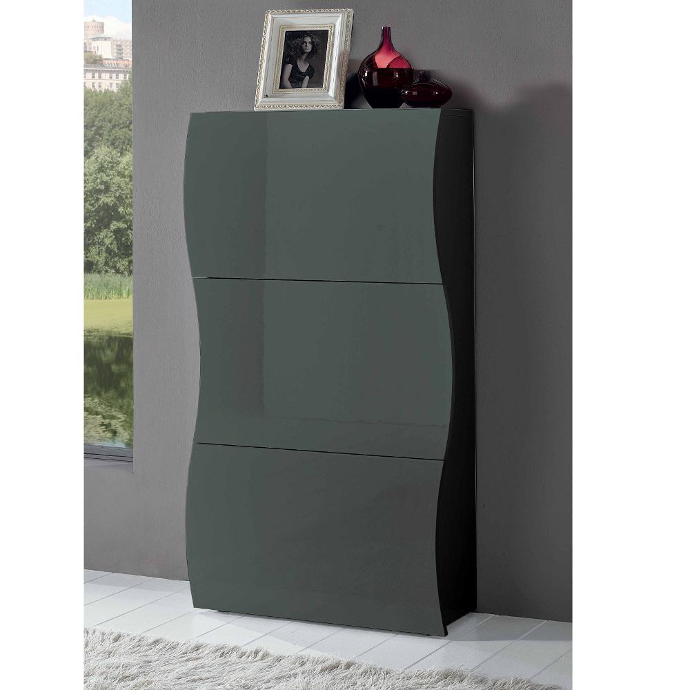 Scarpiera 3 ante 71x27xh122 cm grigio lucido laccato for Scarpiere d arredo