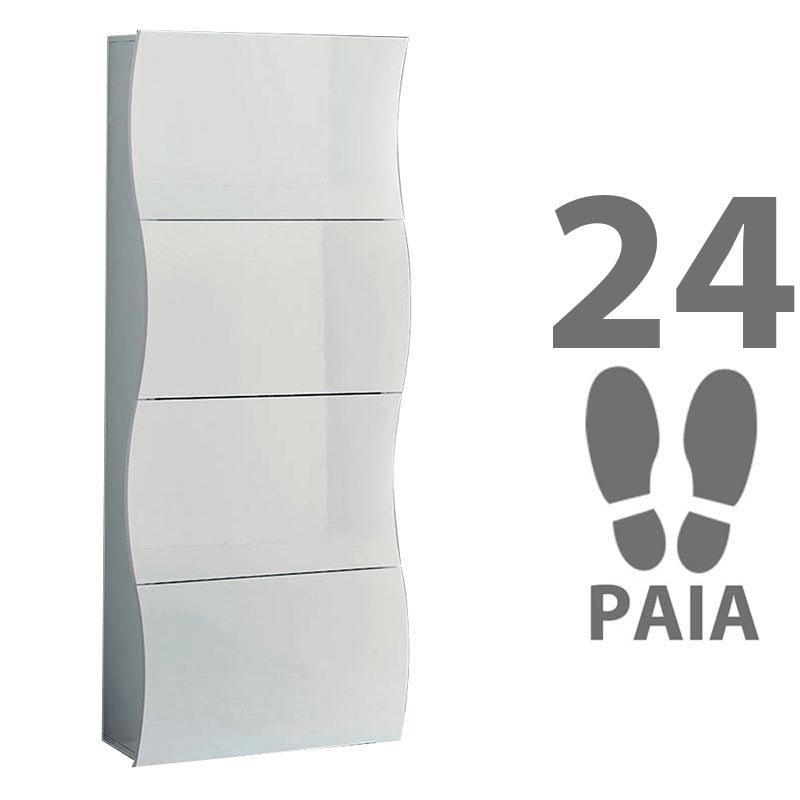 Scarpiera 4 ante 71x28xh162 cm in legno bianco laccato ONDA 24 paia ...