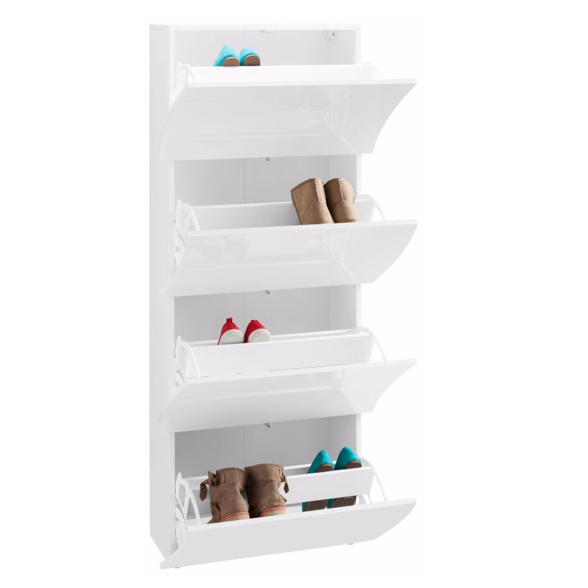 scarpiera 4 ante 71x28xh162 cm in legno bianco laccato onda 24 paia in kit di montaggio tecnos. Black Bedroom Furniture Sets. Home Design Ideas