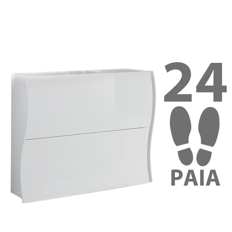 Scarpiera 2 ante 104x27xh82 cm in legno Laccato Bianco ONDA 24 paia ...