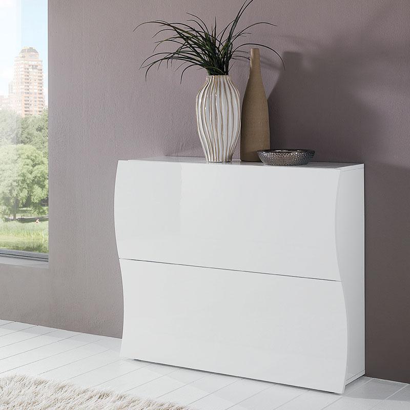 Scarpiera 2 ante 104x27xh82 cm in legno laccato bianco for Scarpiera bassa