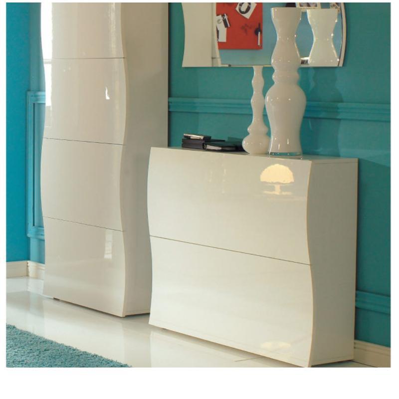 Scarpiera 2 ante 104x27xh82 cm in legno Laccato Bianco ONDA 24 ...
