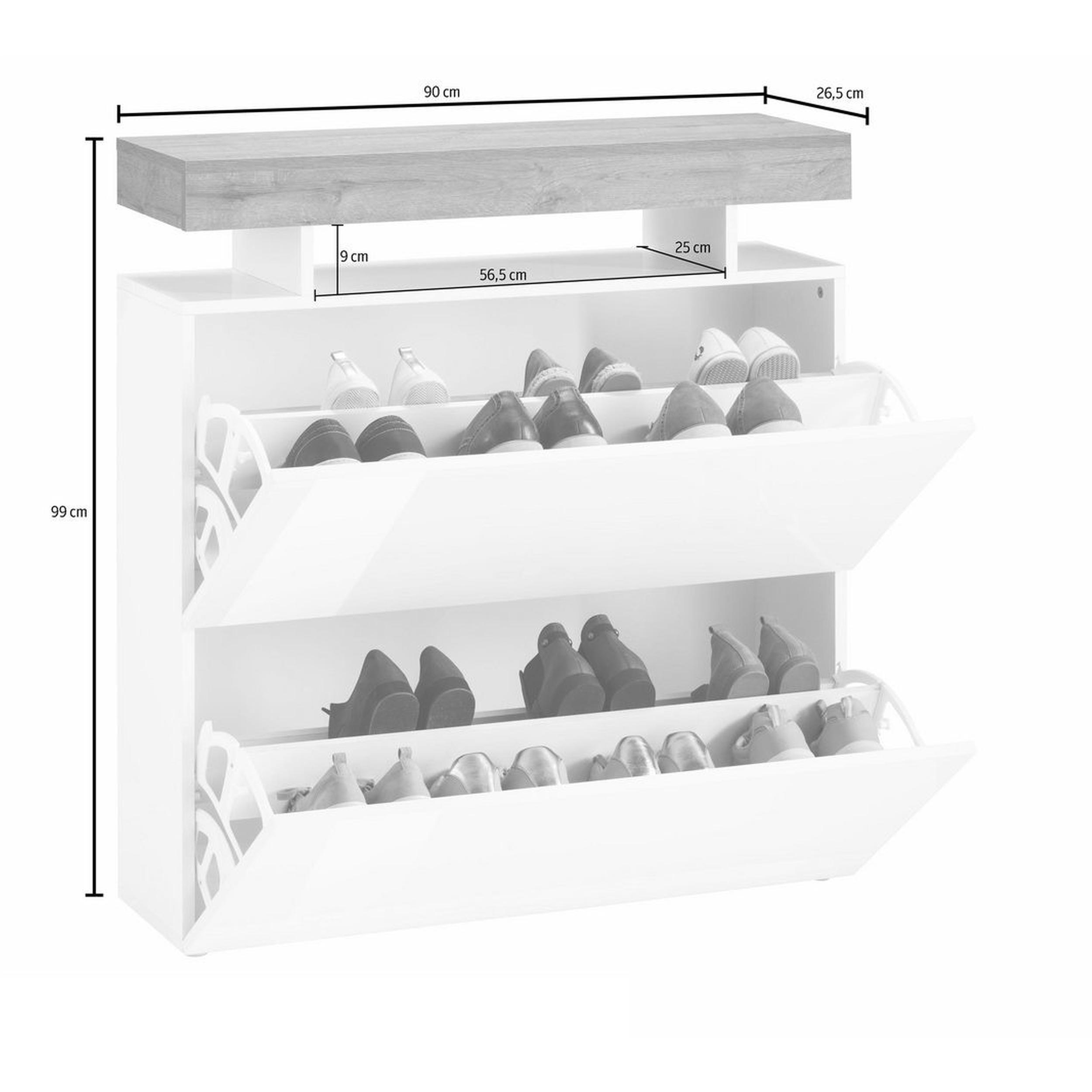 Bianco Mobile 2 Ante in Vetro e 1 Ripiano Galileo Casa White Legno