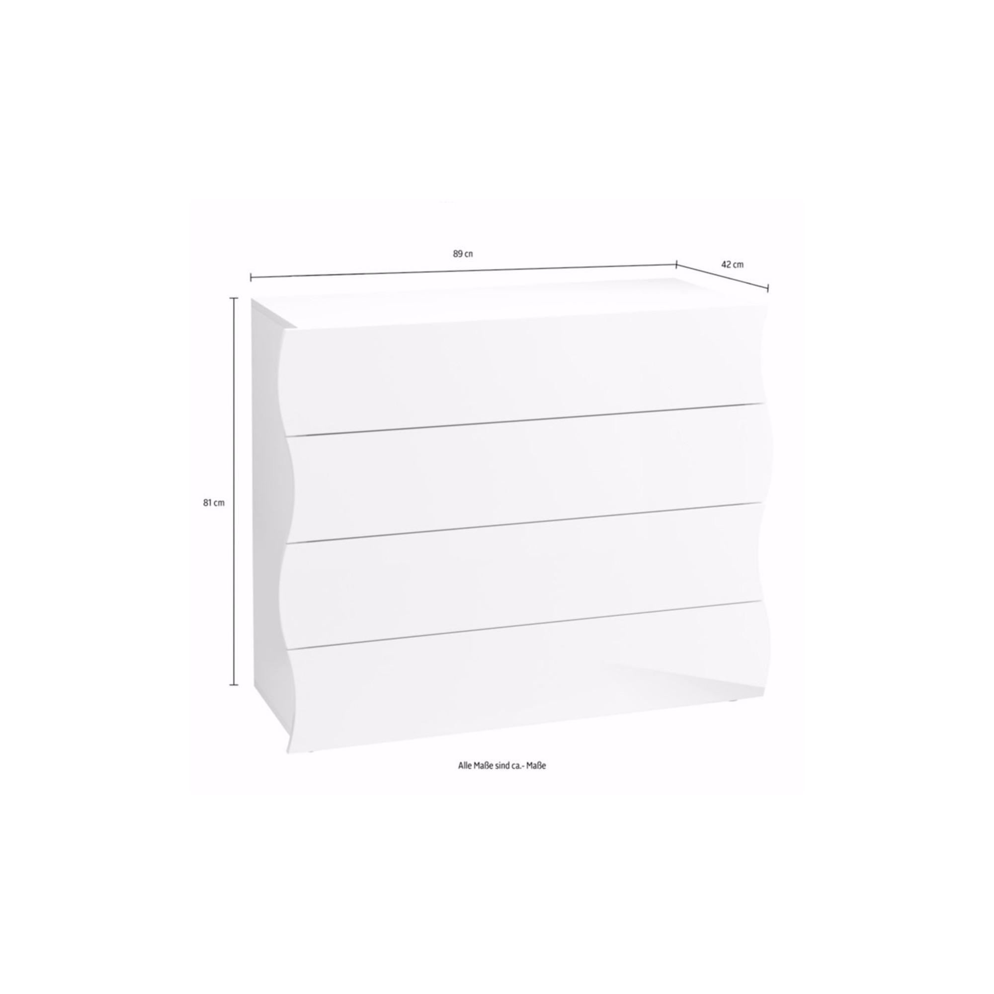 Cassettiera Como 98x40xh82 cm ONDA 4 cassetti laccata Bianco ...