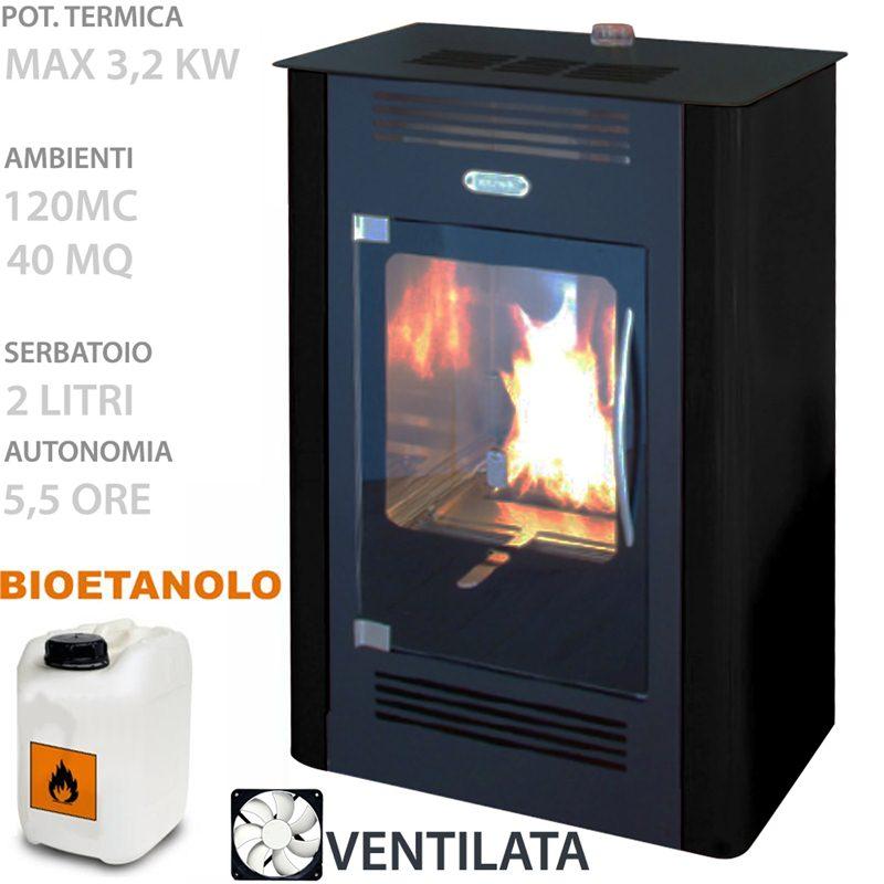 STUFA BIOETANOLO Ruby Ventilata 3.2 KW volume riscaldabile 120 mc ...