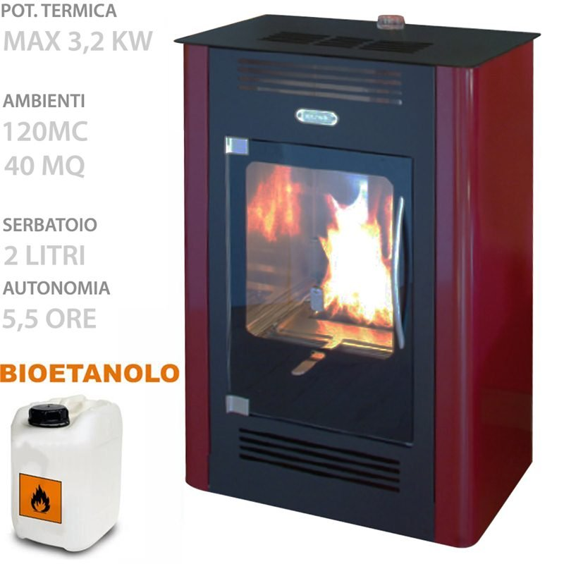 STUFA BIOETANOLO Ruby Statica 3.2 KW volume riscaldabile 120 mc ...