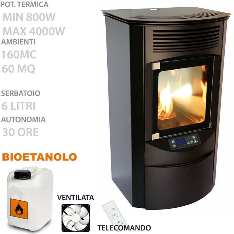 Ruby premium elettronica bioetanolo 4000 watt volume for Stufa a bioetanolo elettronica ruby compact