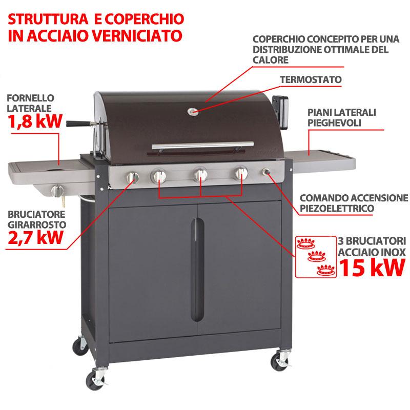 barbecue a gas brahma 5 2 ceram 3 bruciatori da 15kw. Black Bedroom Furniture Sets. Home Design Ideas