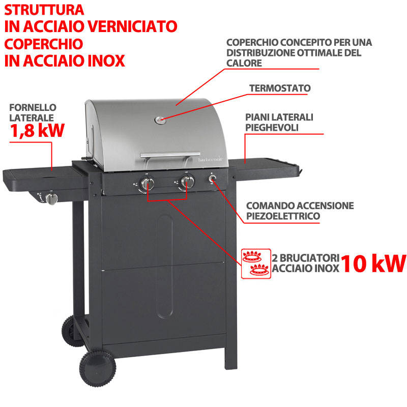 barbecue a gas brahma 3 0 inox 2 bruciatori da 10kw bruciatori e fornello laterale adatto per 10. Black Bedroom Furniture Sets. Home Design Ideas
