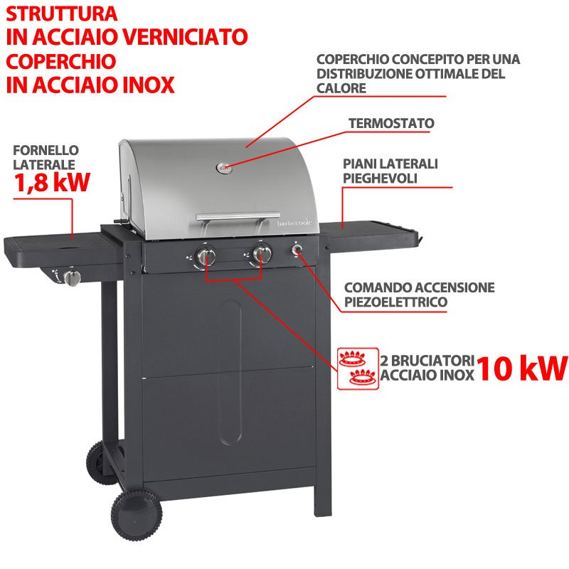 barbecue a gas brahma 3 0 inox 2 bruciatori da 10kw. Black Bedroom Furniture Sets. Home Design Ideas