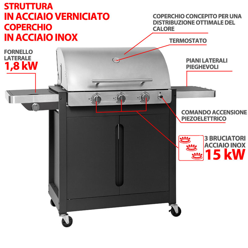 barbecue a gas brahma 4 2 inox 3 bruciatori da 15kw. Black Bedroom Furniture Sets. Home Design Ideas