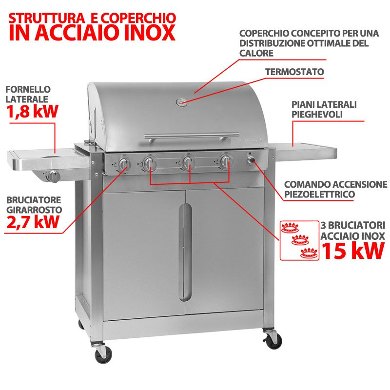 barbecue gas brahma 5 2 inox 15kw barbecook barbecue. Black Bedroom Furniture Sets. Home Design Ideas