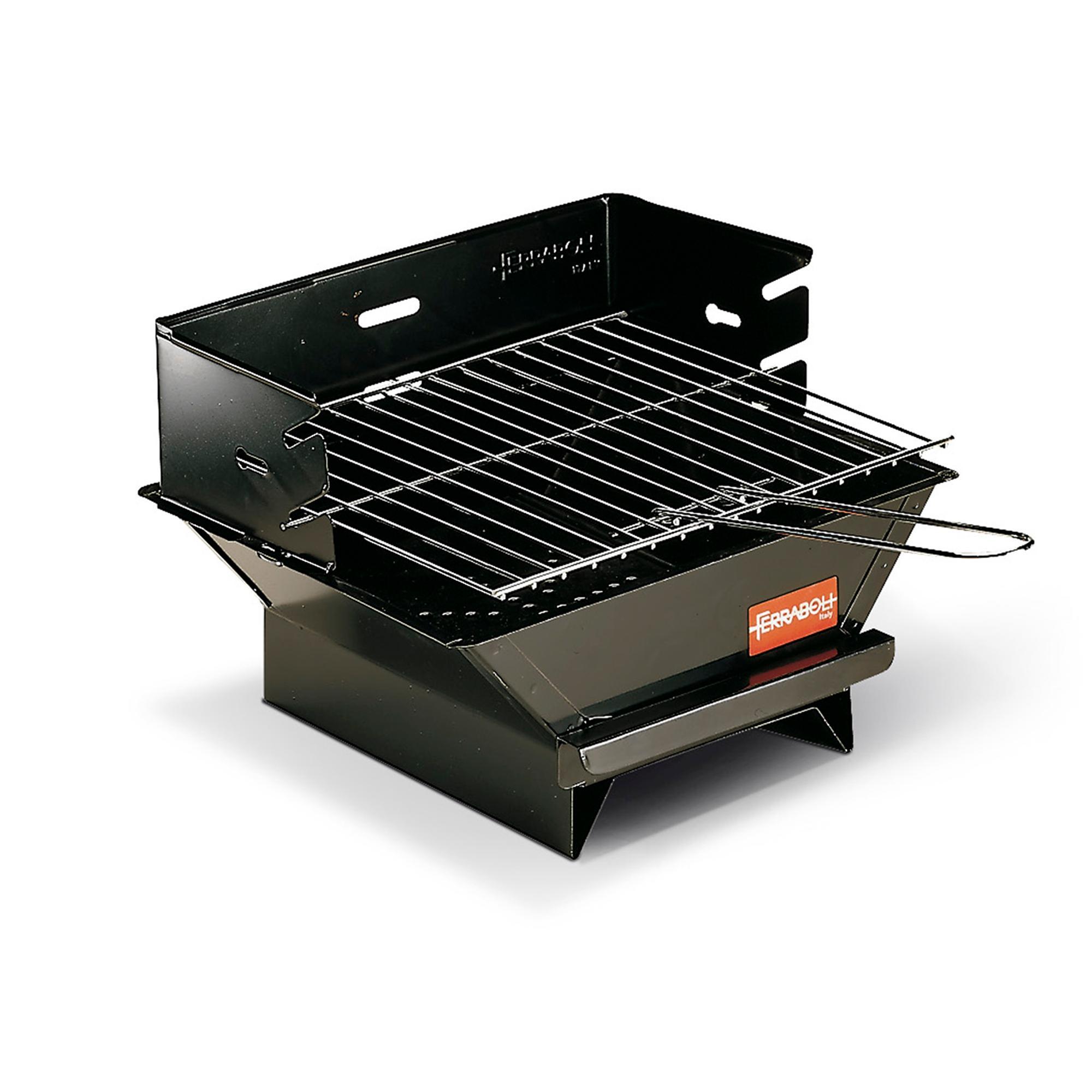 ferraboli barbecue a carbone minigrill 33x30xh22 cm pratico e maneggevole realizzato in lamiera verniciata, nero