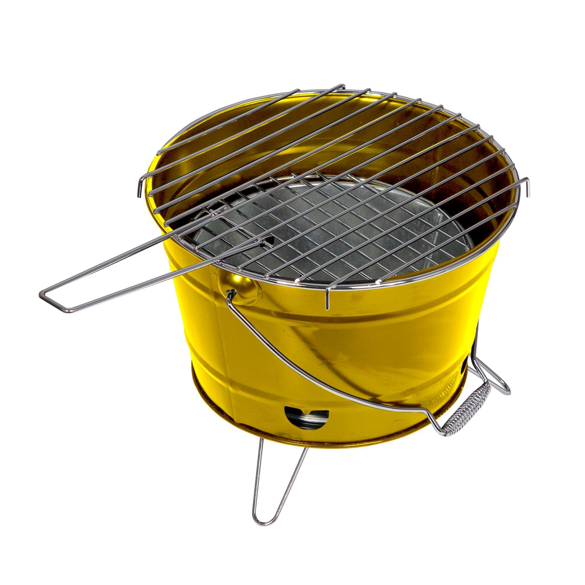 ferraboli barbecue a carbone smile Ø27x22h cm pratico e maneggevole realizzato in lamiera verniciata colore, giallo