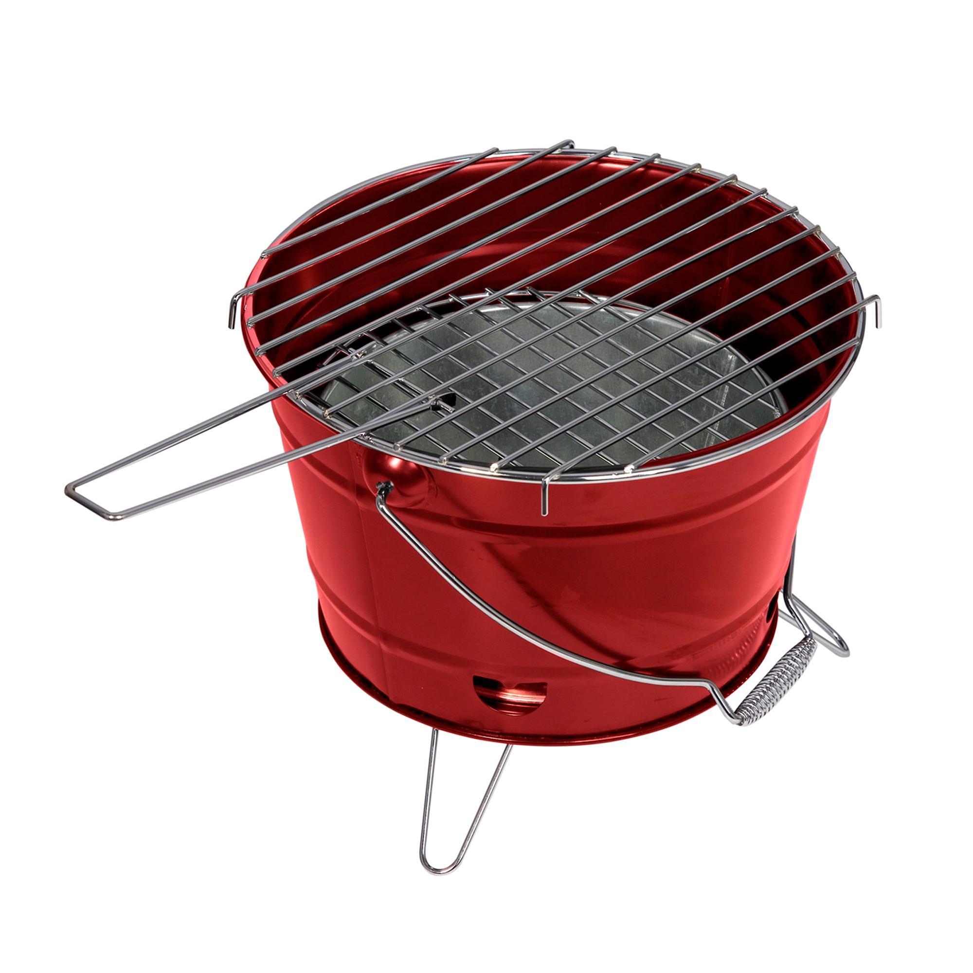 ferraboli barbecue a carbone smile Ø27x22h cm pratico e maneggevole realizzato in lamiera verniciata colore, rosso