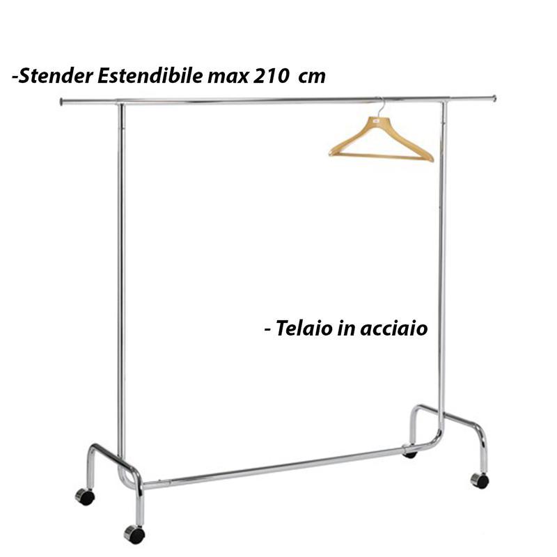 Stender estendibile in metallo con ruote 51x100xh156 cm massima estensione 210 marca design - Porta abiti con ruote ...