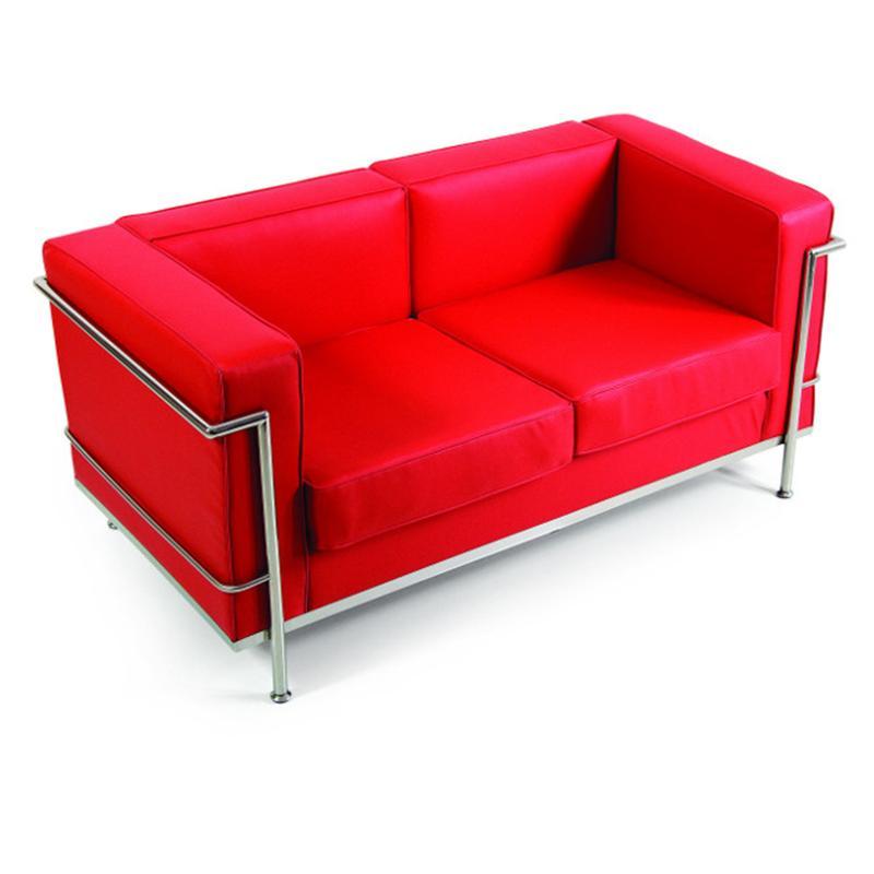 Divano 2 Posti Ecopelle Rosso 139x74xh71 cm struttura in ...