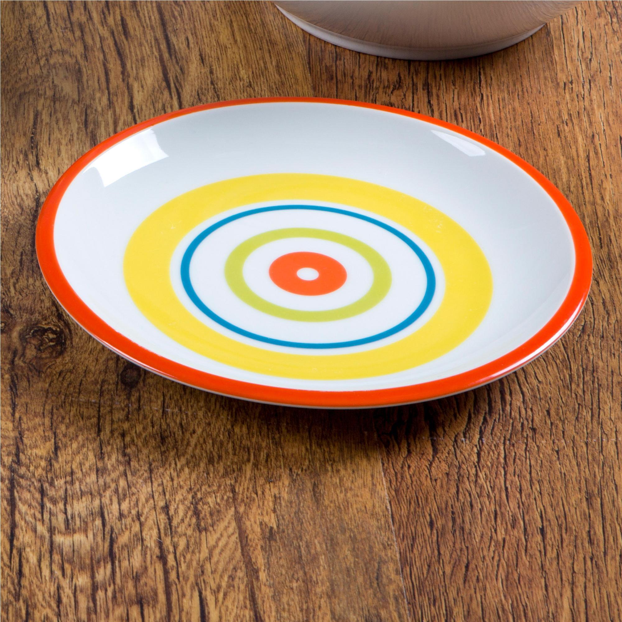 Piatti Piani in ceramica 6 pezzi SHEILA realizzati in ceramica decorata sottosmalto