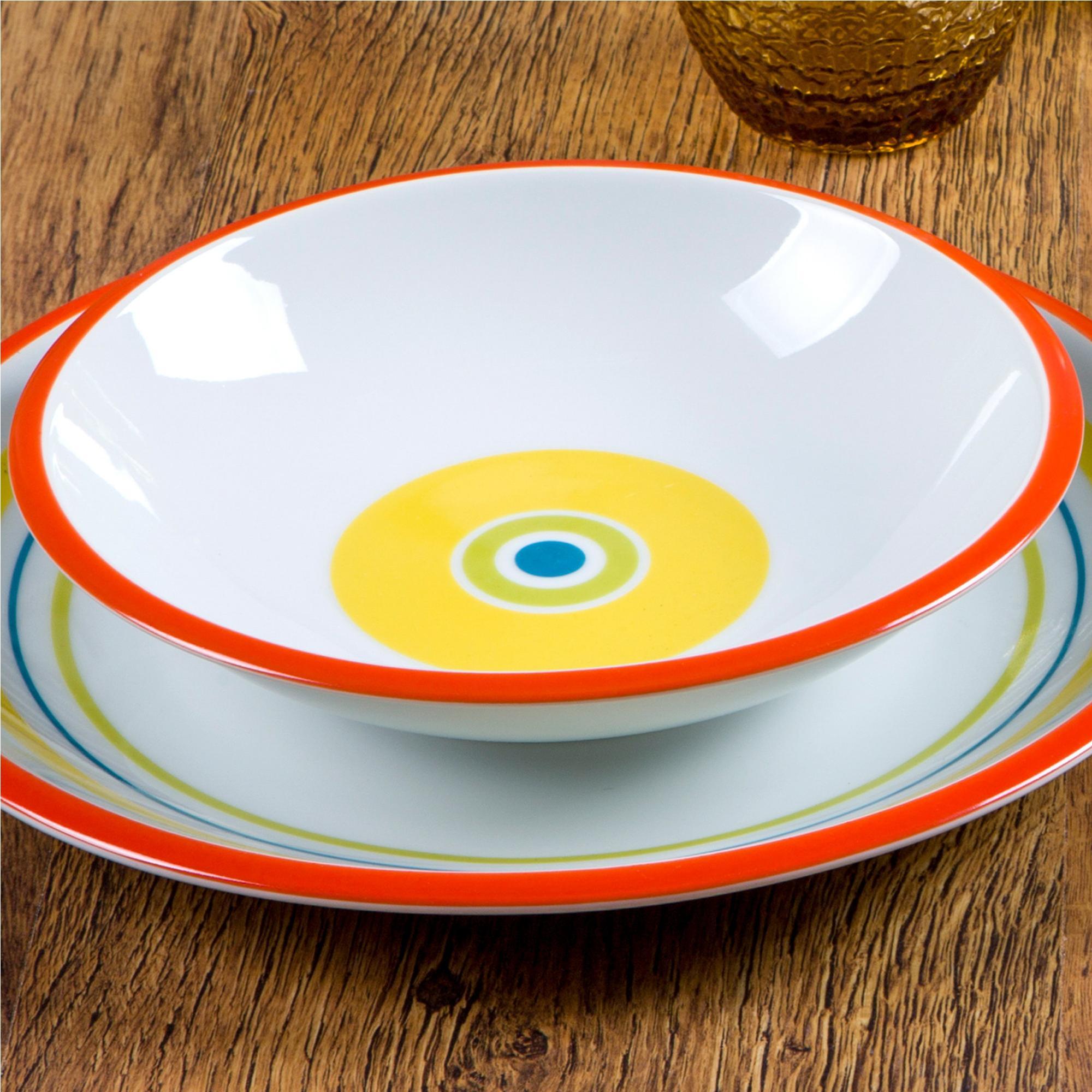 Piatti fondi in ceramica 6 pezzi SHEILA realizzati in ceramica decorata sottosmalto