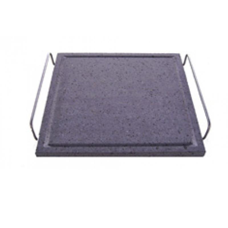 Piastra di cottura in pietra lavica dell etna oven 32x32 con supporto di acciaio inox barani - Piastra in acciaio inox per cucinare ...