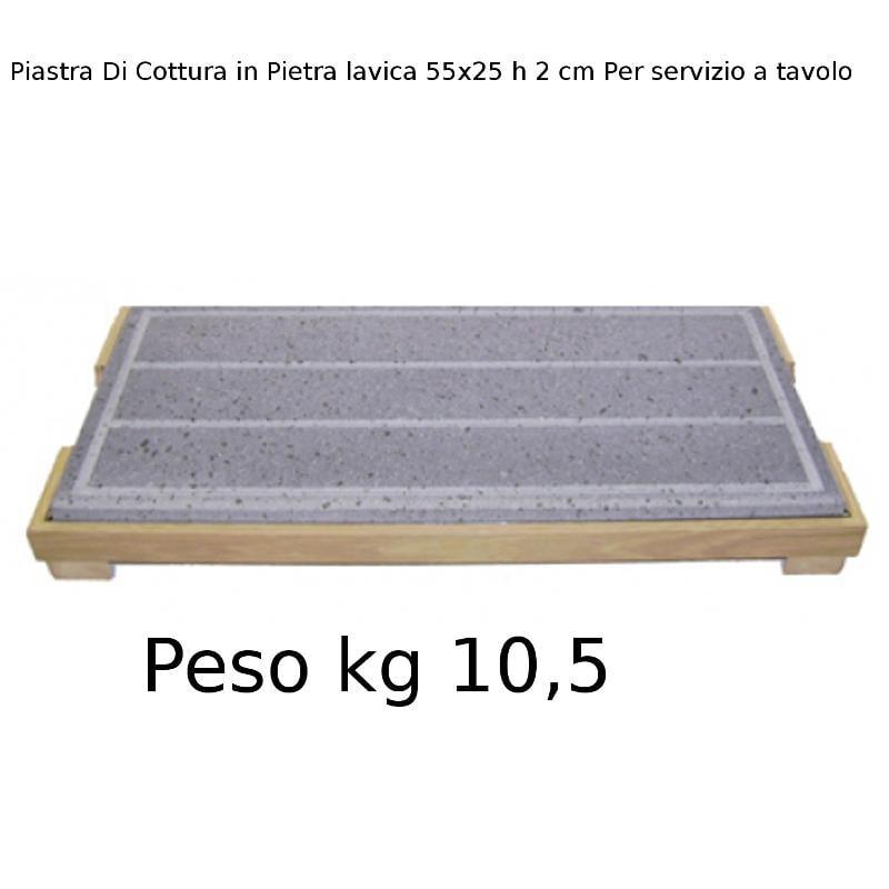 Piastra di cottura in pietra lavica dell etna risto basic 55x25xh2cm per servizio al tavolo con - Pietra lavica da tavolo ...