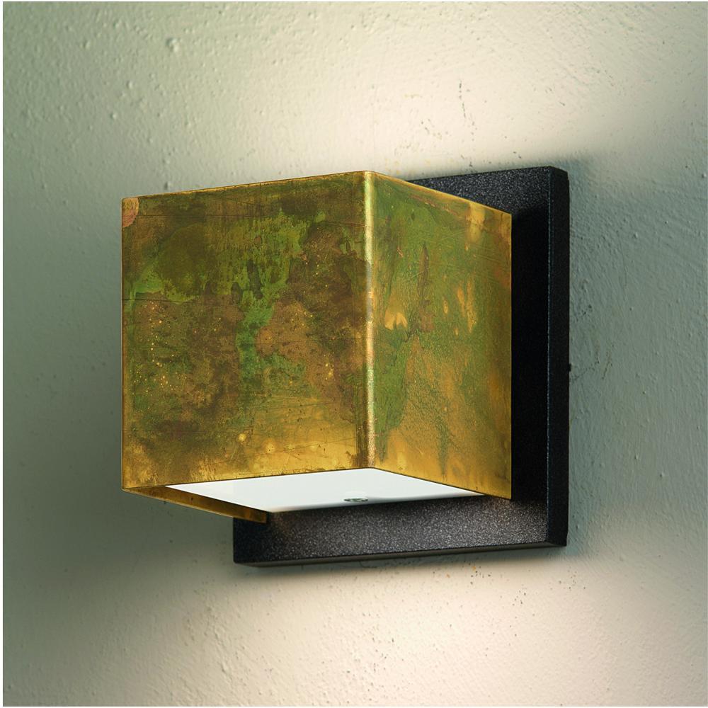 Applique da muro lola 11x11xh11 cm in ottone ossidato con for Applique muro