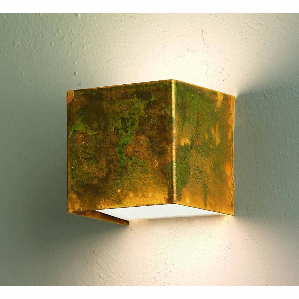 Applique da parete lola 9x9x9h cm in ottone ossidato senza for Applique da parete legno