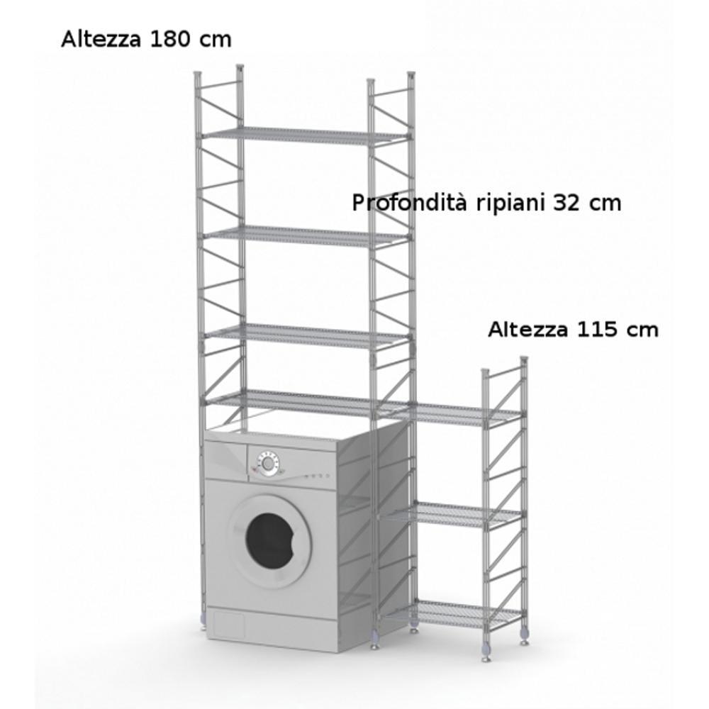 Scaffali In Acciaio Componibili.Scaffale Componibile Modulo Lavatrice Alice 32xh180 32xh115 Cm In Acciaio Verniciato Wisy