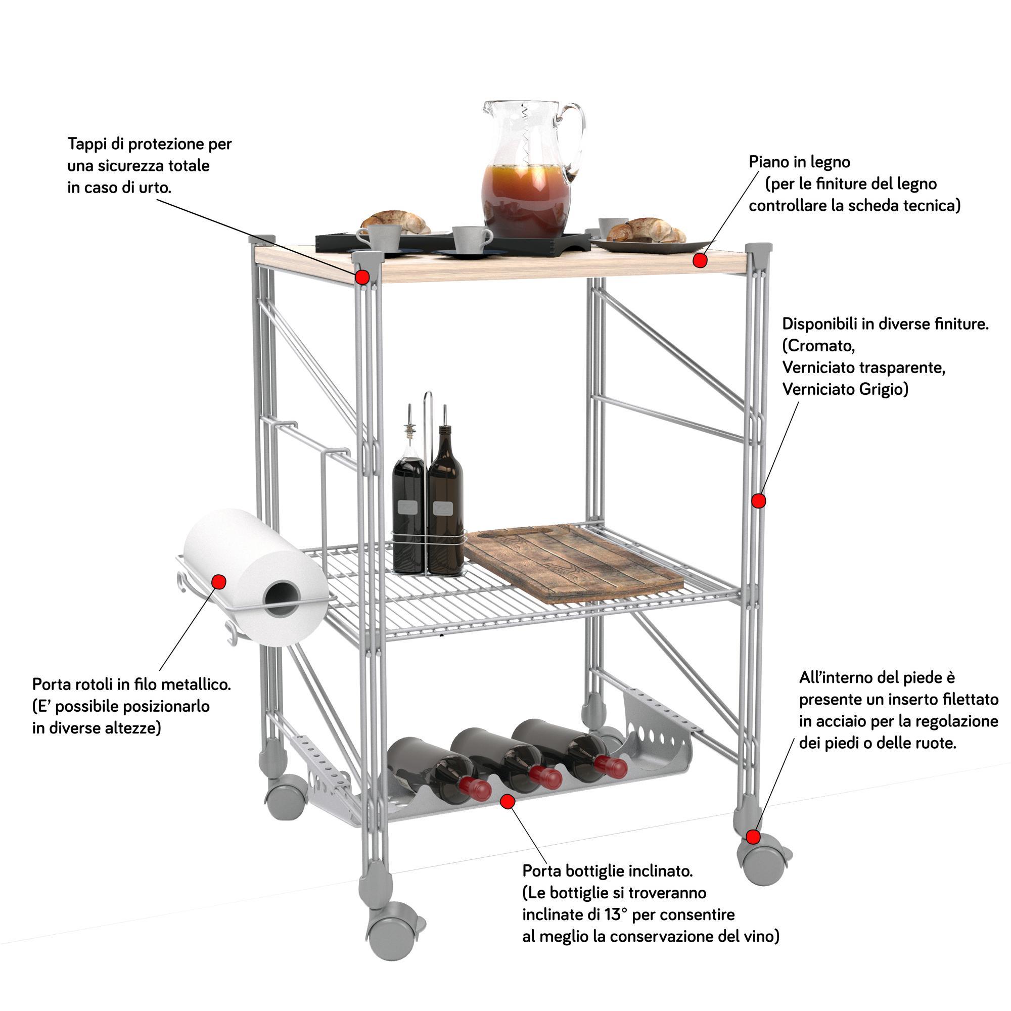 Carrello da Cucina portavivande con Piano in Legno struttura in filo ...