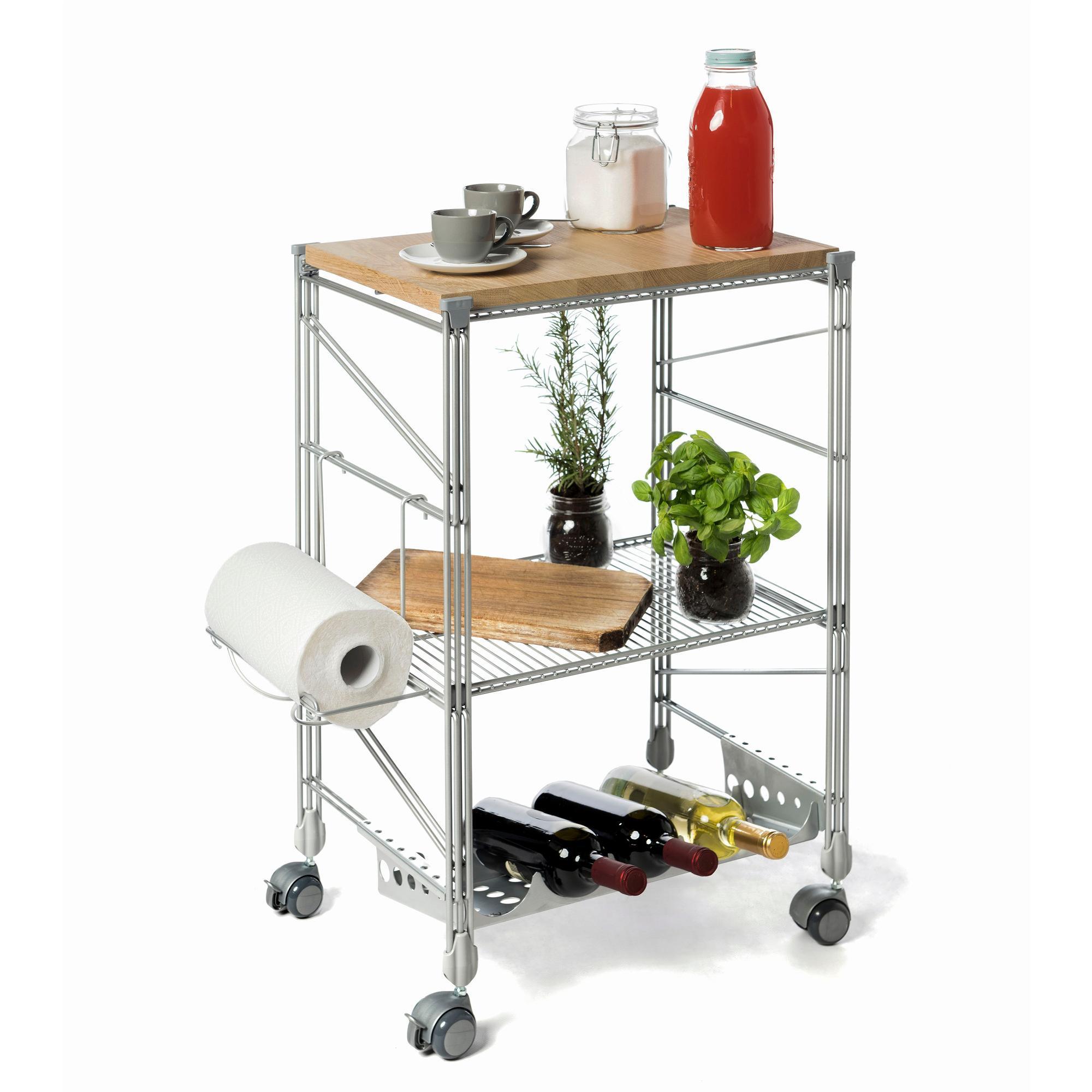 Carrello da cucina con tagliere in legno ebano 32x50xh78 - Carrello cucina acciaio ...