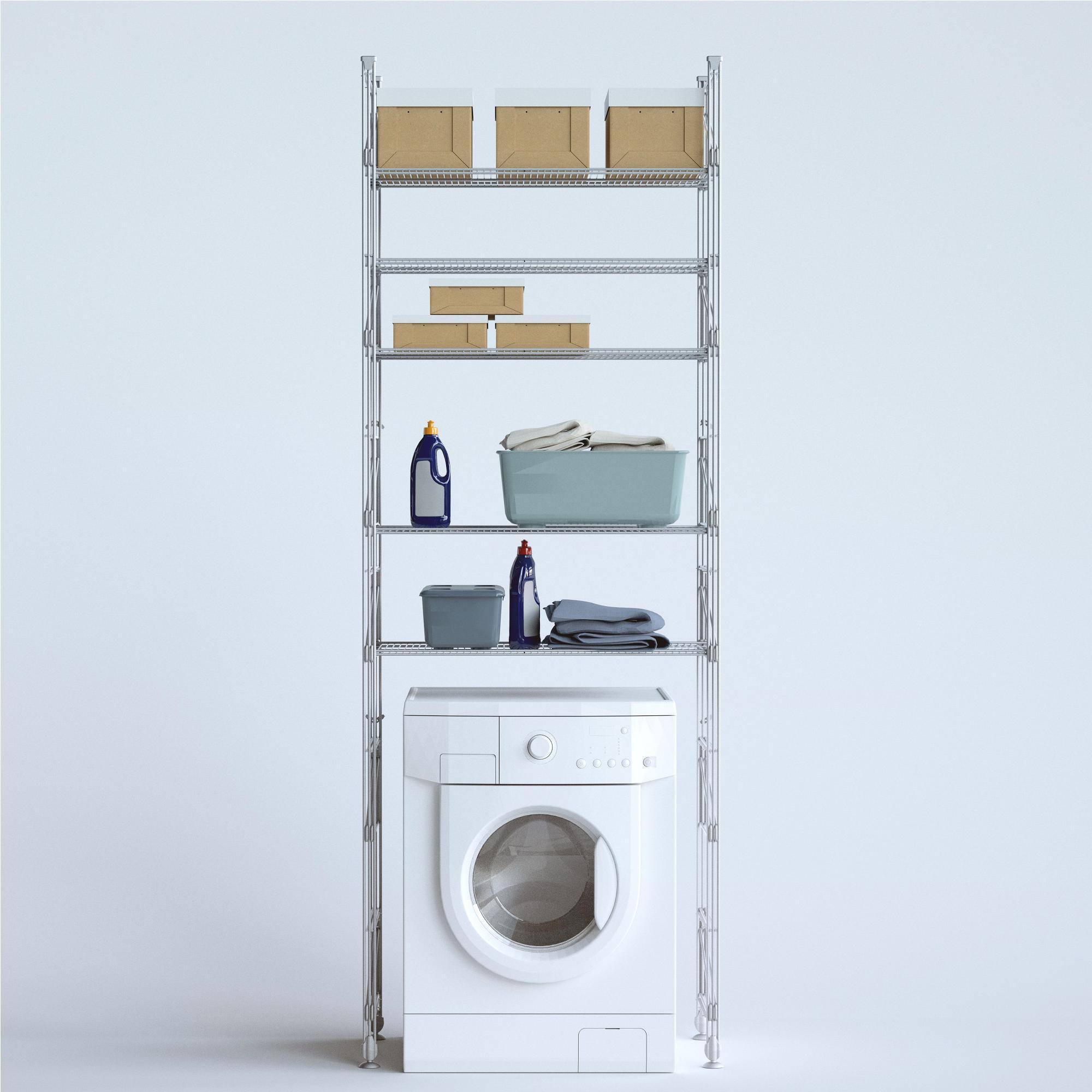 Scaffale componibile modulo lavatrice tino 100x42xh190 cm verniciato grigio metallizzato wisy - Mobile sopra lavatrice ...