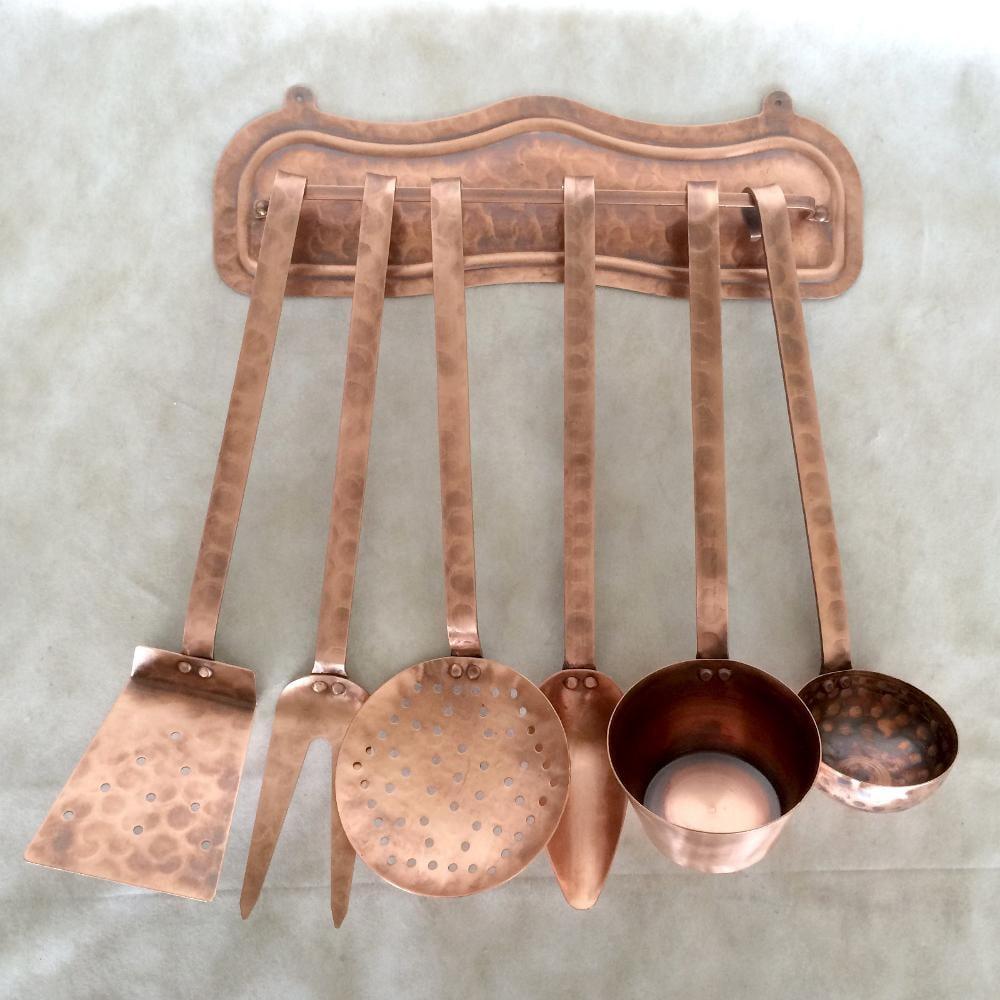 Set mestoli in rame finitura martellata 6 pezzi con - Stoviglie e utensili da cucina ...