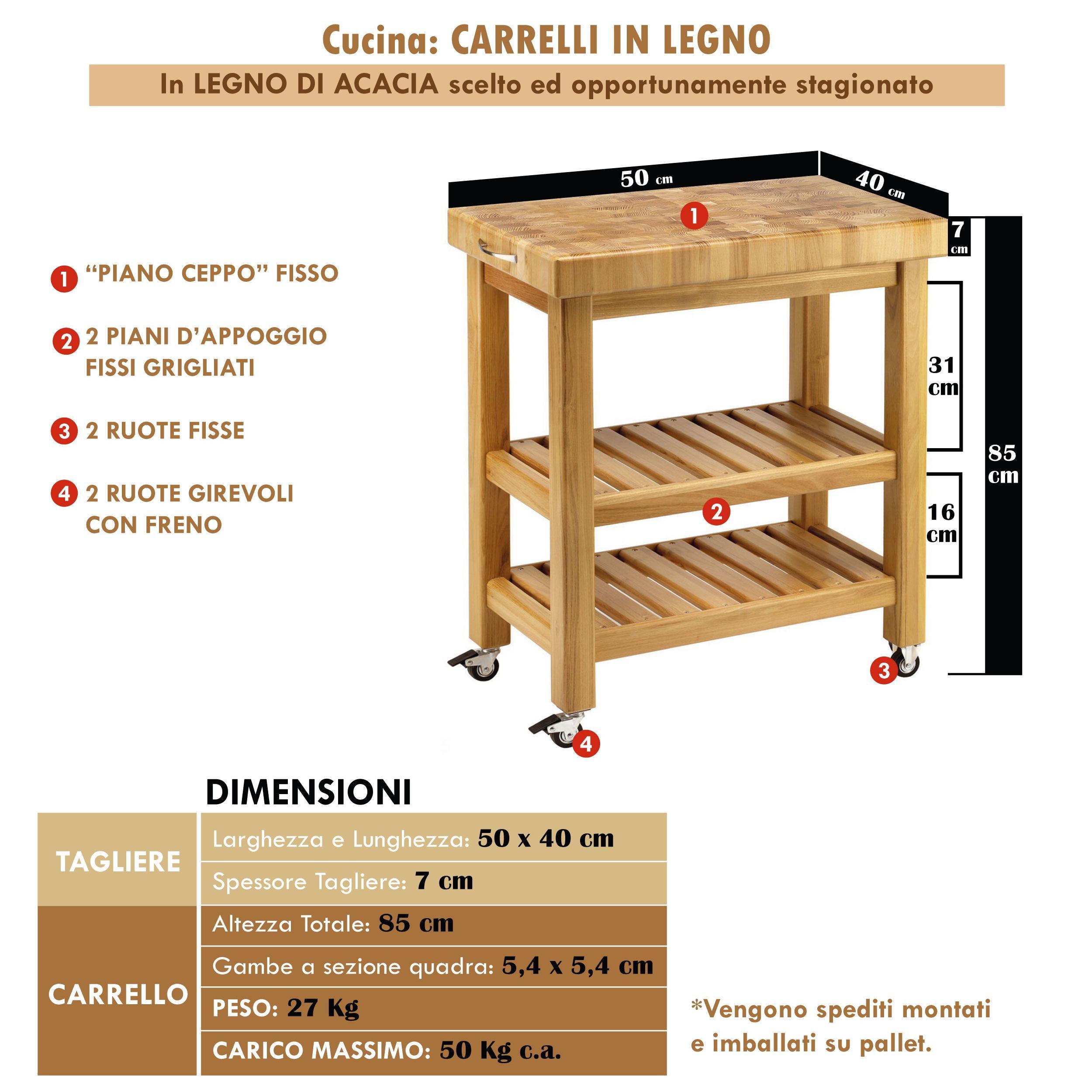 carrello da cucina in legno massello 50x40xh85 cm con tagliere in legno