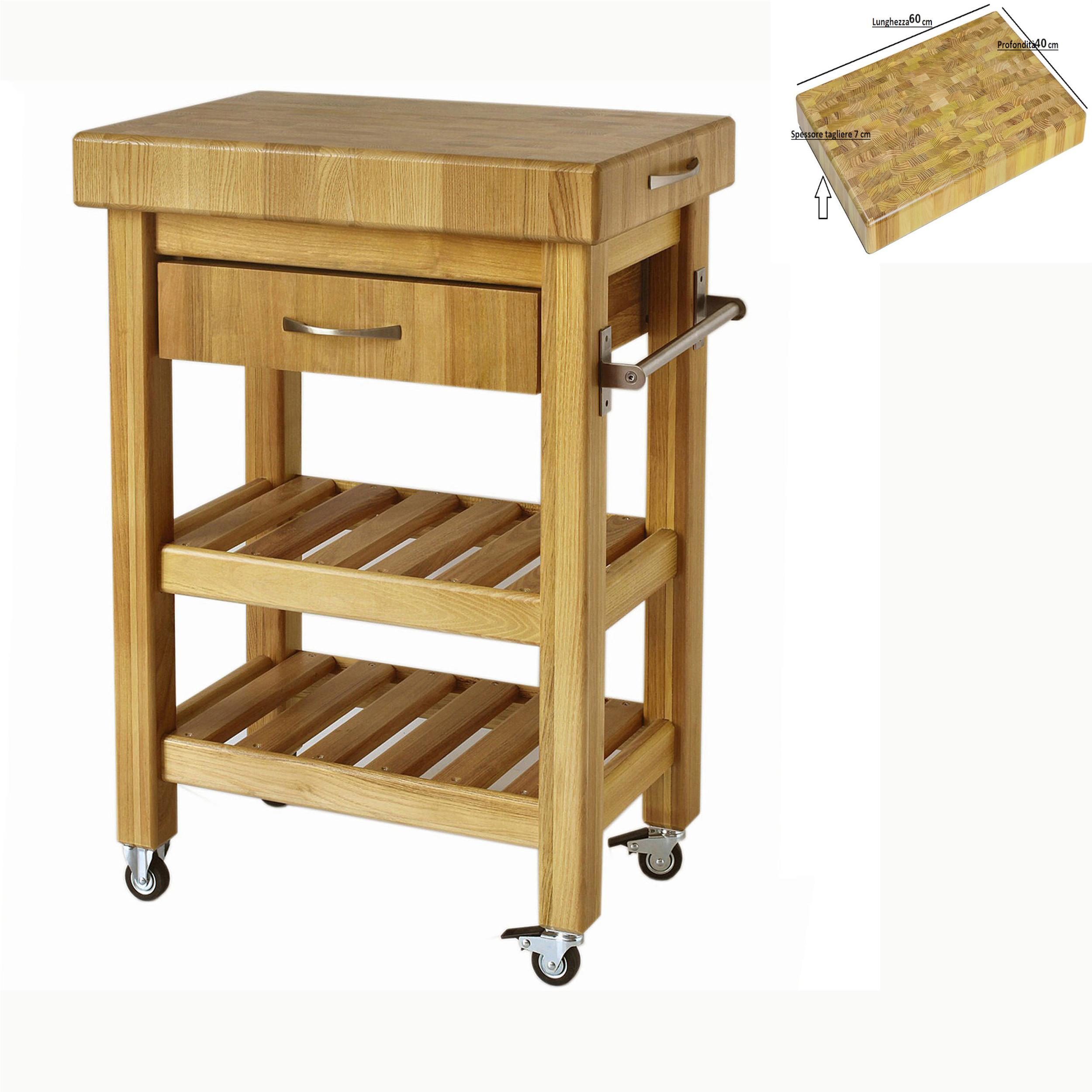 Carrello da cucina in legno massello con cassetto 60x40xh85 cm con tagliere  in legno   Spagnoli snc