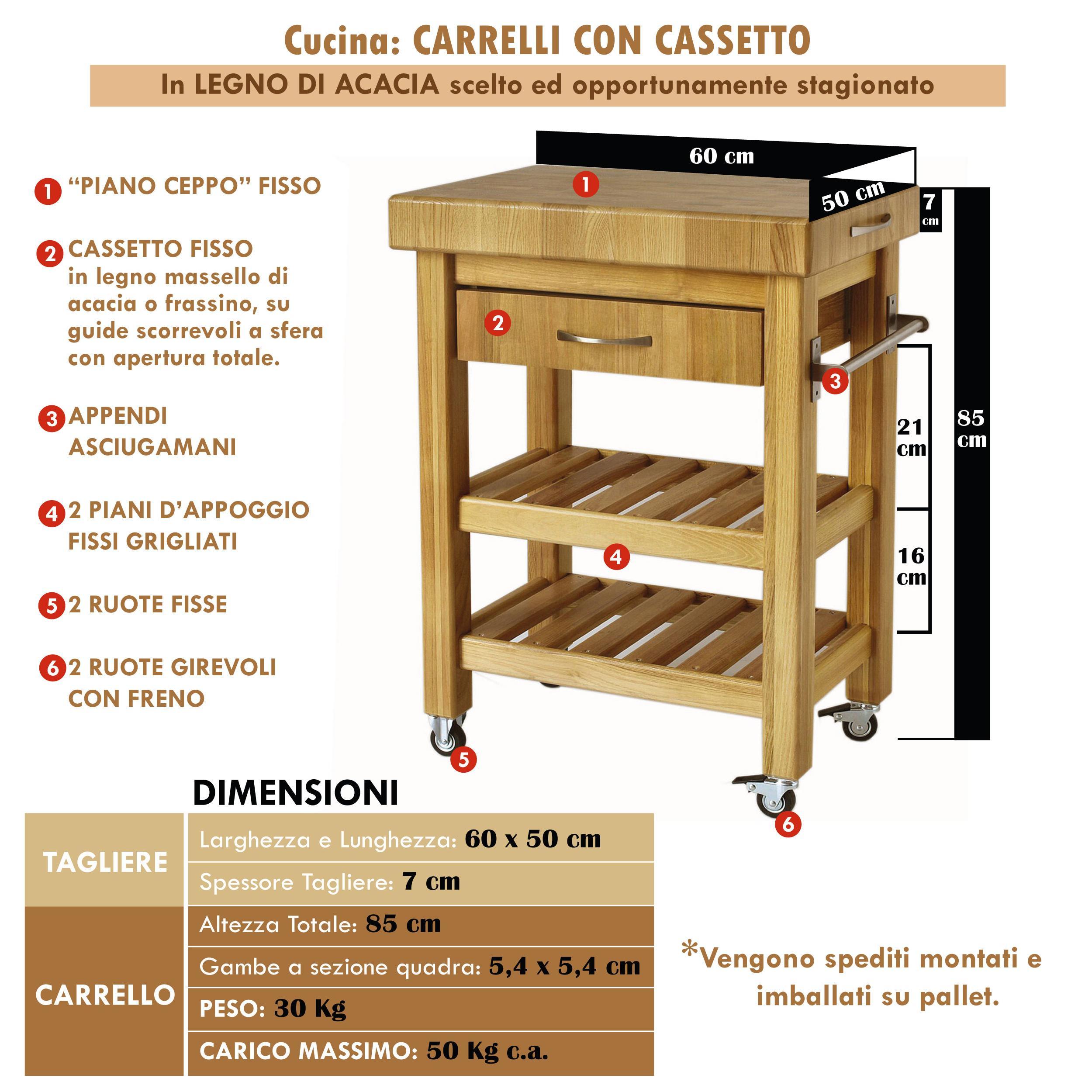 Souvent Carrello da cucina in legno massello con cassetto 60x50xh85 cm con  ZE72