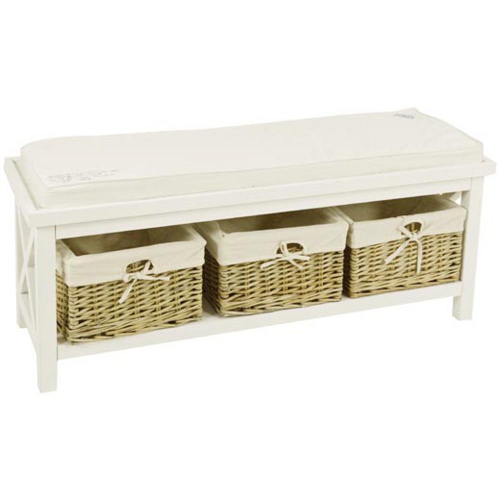 Mobiletto panca in legno agata con cuscino con 3 cassetti - Mobiletti in legno ...