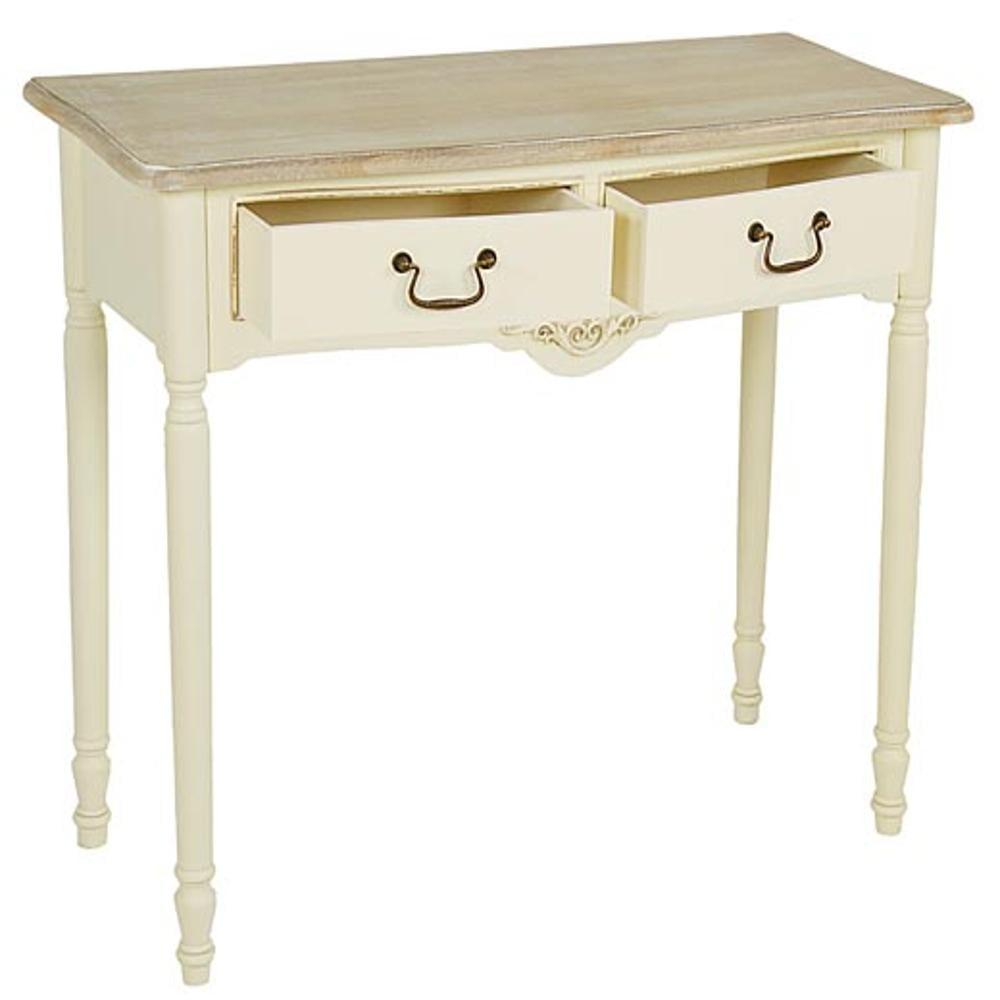 consolle toilette tavolo in legno con 2 cassetti jolie